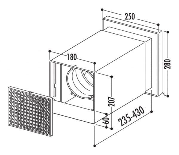 V-Klima A/Z 125 luchttoevoer en -afvoer muurdoorvoerunit 1, Muurdoorvoerunit., wit/roestvrij staal