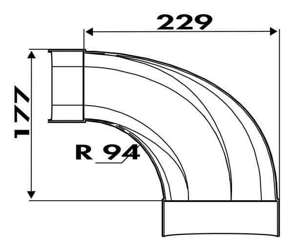 Compair Flow 125 F-bion verloopstuk 90° plat naar rond