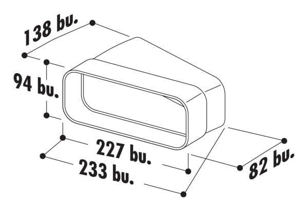 F-RBH 150 Buisbocht horizontaal 15。, Verbindingselement., wit