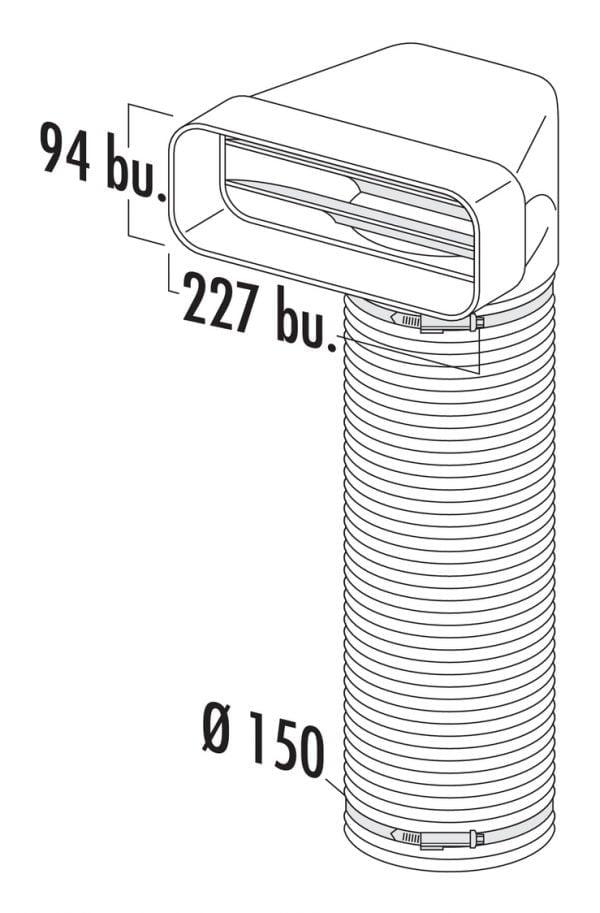 Compair Flow 150 F-URX verloopstuk 90° met flexibele slang, wit, L 500 mm