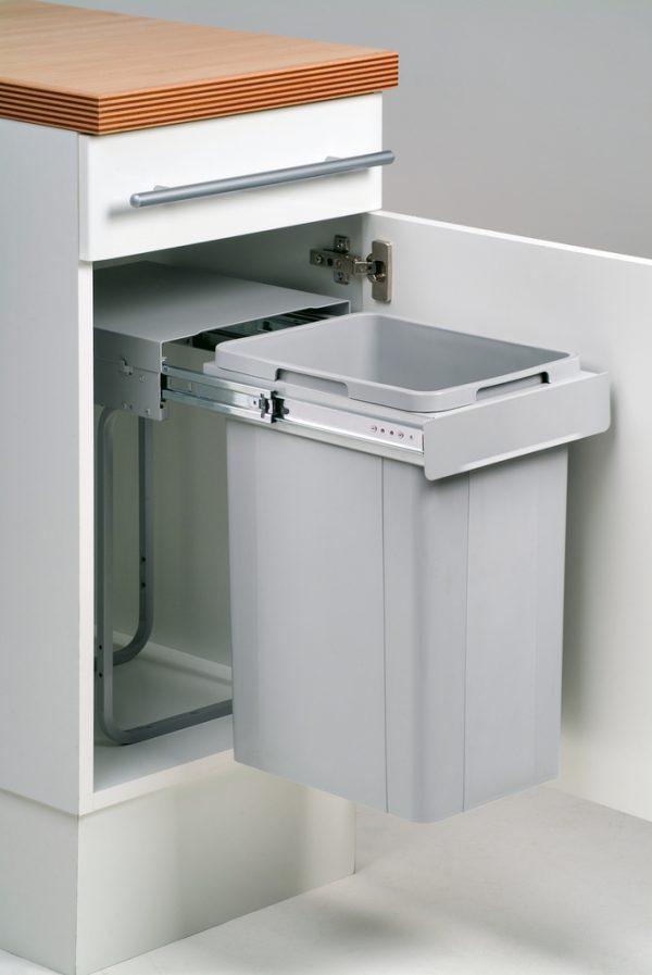 Bio Single 30 DT, Afvalverzamelsystemen voor draaideuren., alu grijs, 26 l, H 470 mm