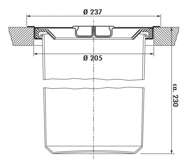 Dassa 4, Afvalverzamelsysteem voor vrijstaande container., roestvrij staal met aluminium element