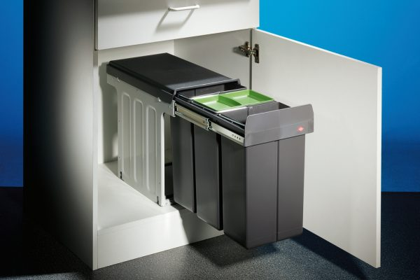 Bio Trio DT, Afvalverzamelsystemen voor draaideuren., met bio-deksel , antraciet