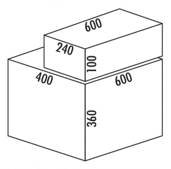Coxィ Base 360 S/600-2 met Base-Board, Afvalverzamelaar met frontuittreksysteem., lichtgrijs, H 460 mm