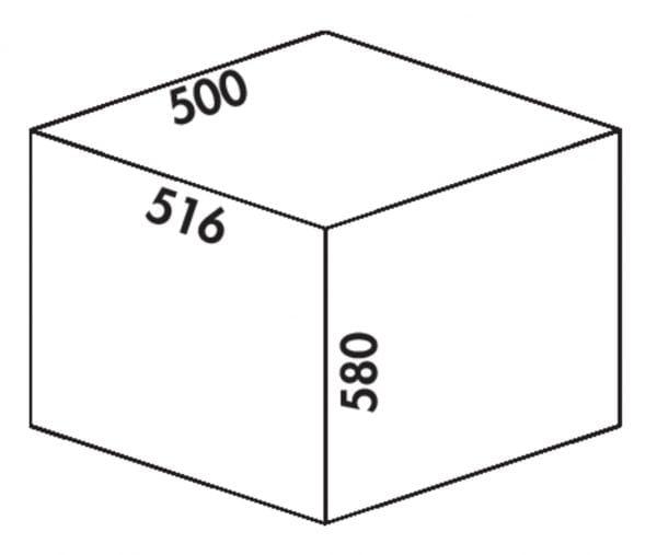 Cox Clanィ 580/500-2, Afvalverzamelsysteem voor Frontuittreksysteem., lichtgrijs, H 580 mm