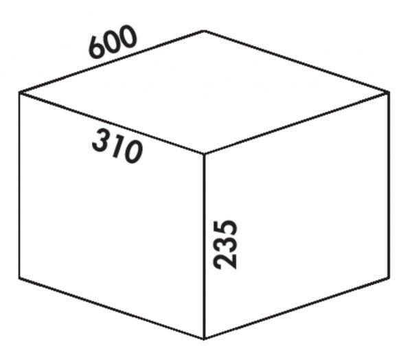 Coxィ Box 235 K/600-2, Afvalverzamelsysteem voor voorhanden uittreksystemen., met biologisch deksel, lichtgrijs