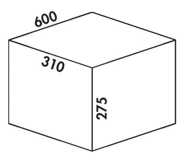 Coxィ Box 275 K/600-2, Afvalverzamelsysteem voor voorhanden uittreksystemen., met biologisch deksel, lichtgrijs