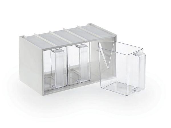 De Luxe 3, Voorraadbak., voorraadbakjes glashelder