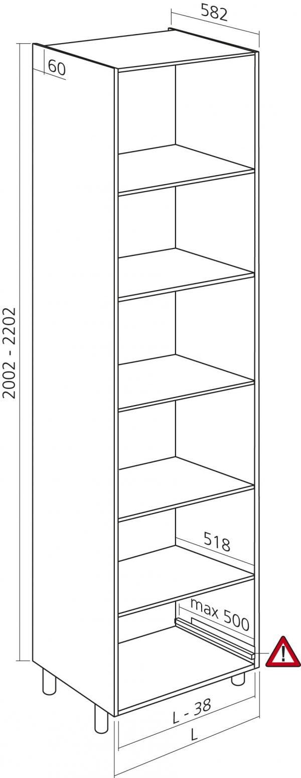 Keukenkasten zonder front, Halfhoge kast, kleur wit, H1300mm