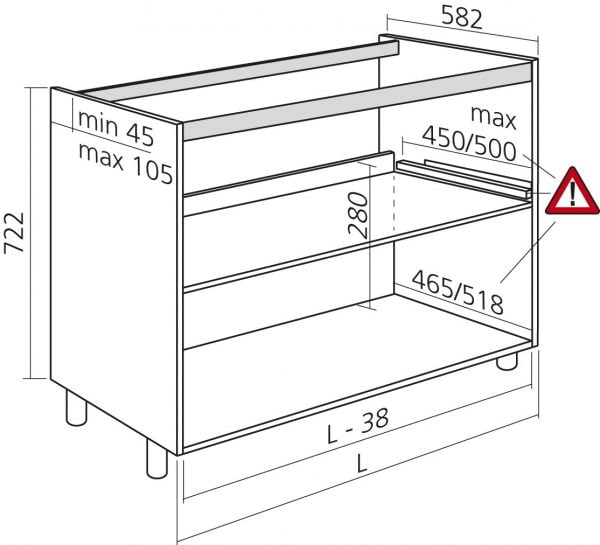 keukenkasten zonder front, voor spoelbak, kleur wit, H722mm