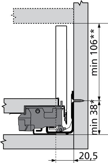 LEGRABOX Blum lade K Blumotion 144mm